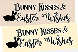 OutletBestSelling Stencil Bunny Kisses & Easter Wishes Rabbit Spring Sign Stencil
