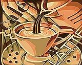 ZXDA Dipinto con Numeri Paesaggio Tazza da caffè Pittura acrilica con Numeri per Adulti Immagine di Arte della Parete Decorazioni per la casa A12 40x50cm