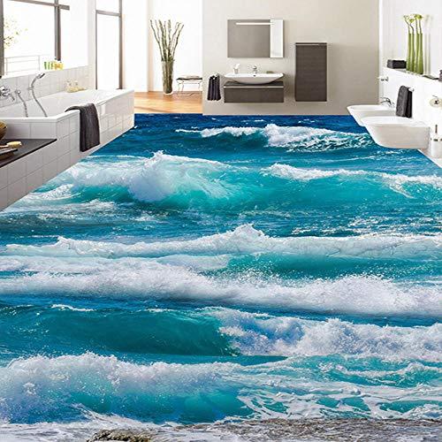PVC Selbstklebende Wasserdichte 3D Bodenfliesen Tapete Moderne Meerwasser Sea Wave Fototapeten Bad Bedroo1M Tapeten Sticker-200 * 140 Cm