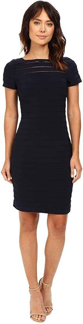 Adrianna Papell Women's Short Sleeve Banded Dress with Back Deatil