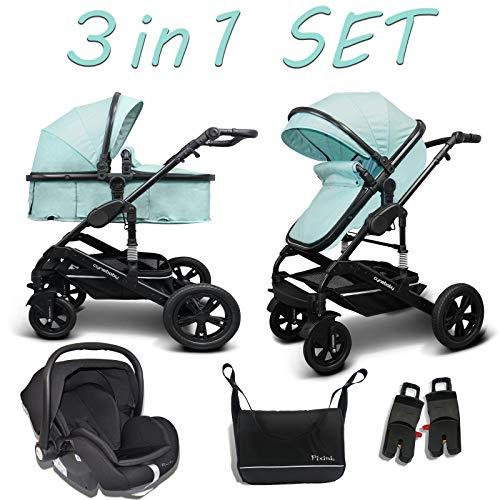 Cynebaby Kombi-Kinderwagen 3in1 (Kombi-Kinderwagen 3in1 mit Babyschale mint)