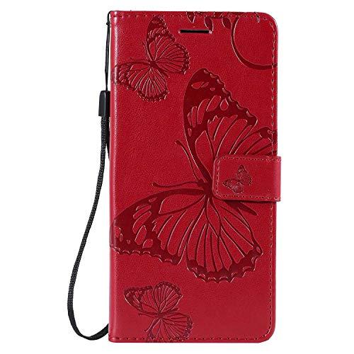 Premium Hülle für Galaxy A8S, Modasin Brieftasche Tasche mit Magnetisch Verschluss & Klapp Ständer, Dünn Leder Hülle für Samsung Galaxy A8S, Rot