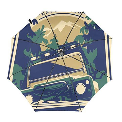 Pop-Jeep-Poster-Regenschirm, winddicht, klappbar, Golfschirm, automatisches Öffnen/Schließen, leicht, automatisch, winddicht, kompakt