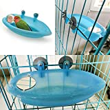 ASDHJ Bird Bath Tub with Mirror, Pet Bird Cage Hanging Bath Tub Water Shower Food Feeder, for Pet Parrot Parakeet Canary Budgies Cockatiel Cage