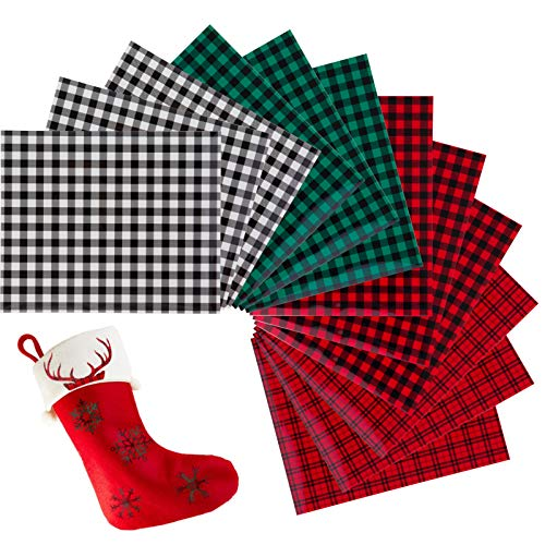 12pcs Christmas Buffalo Plaid Heat Transfer Vinyl Clothing Patches- 12 × 10 Inches Xmas Plaid Printed Vinyl Sheets in 4 Styles Fabric Cloth Adhesive Iron on Vinyl for Fabrics DIY Crafts Xmas Presents