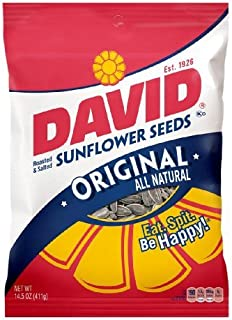 DAVID Roasted and Salted Original Sunflower Seeds, Keto Friendly, 14.5 oz, 12 Pack