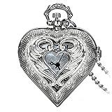 Avaner Reloj de Bolsillo Retro Vintage en Forma de Corazon Plateado, Colgante de Amor Collar Largo de 78 CM, Cuarzo...