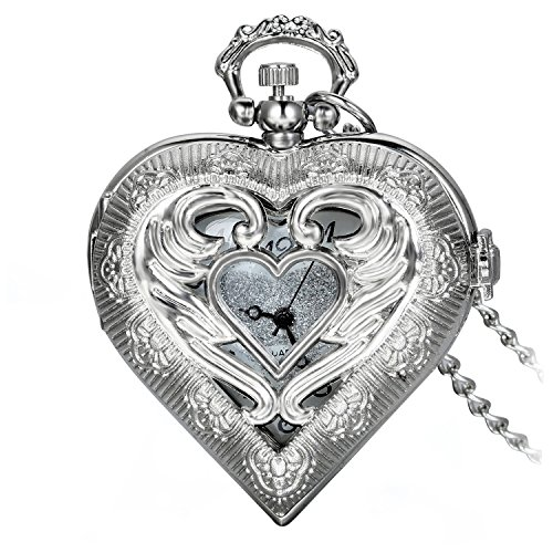 Avaner Reloj de Bolsillo Retro Vintage en Forma de Corazon Plateado, Colgante de Amor Collar Largo de 78 CM, Cuarzo Reloj para Mujer Regalo de San Valentin