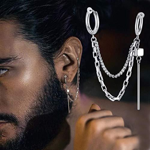 Zuyau Pendientes de cadena con barra para mujer, para cartílago, piercing de acero inoxidable, piercing para la izquierda
