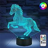 Lampada 3D Visual Lamp 3D Night Light Horse 16 Cambiamento Colore Decor Lamp - Regalo perfetto per bambini e camera Decor