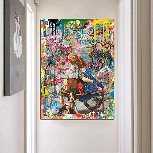 Y-fodoro Rompecabezas de Rompecabezas para Amantes y Perros, Pintura al óleo Abstracta de Madera Famosa de Street Pop, Rompecabezas de 1000 Piezas para Adultos, Regalos de Arte para Hombres y Mujeres