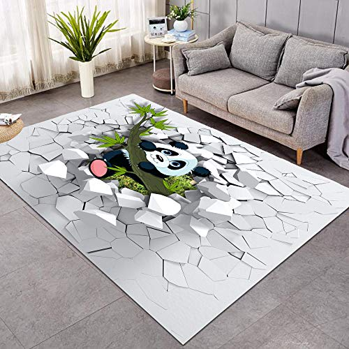 BLZQA Alfombra Moderna de Pelo Corto Panda Animal 3D Alfombra De Salón Antideslizante Salón Dormitorio Fácil de cuidar, al Aire Libre Cámping Viaje 120 x160 cm