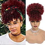 G&T Wig Afro High Puff Hair Bun Drawstring Ponytail With Bangs Short Kinky Curly Pineapple Pony Tail Clip in on Wrap Updo Ponytail Extensions for Black Women (1B/Bug)