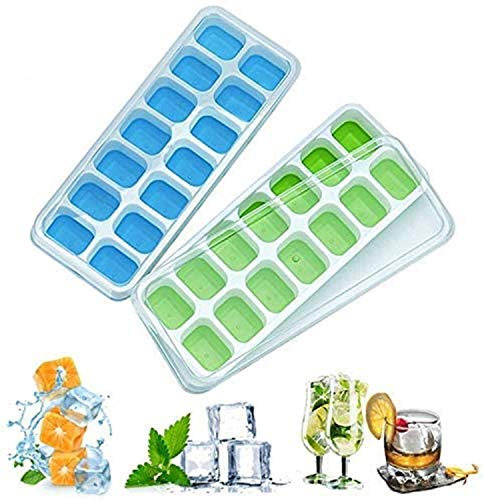 Ice Cube Trays with No-Spill Removable Lid, Lfgb Certified BPA Free Moulds,Easy-Release Silicone and Flexible 28-Ice Trays,Best for Freezer,Baby Food,Water,Whiskey,Cocktail and Other Drink