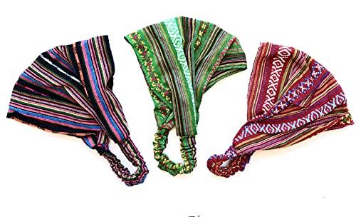 HC enterprise,Cinta pañuelo para Cabeza,Estampado Etnico,Multicolor,3 Unidades