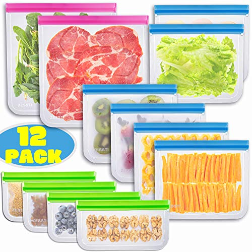 Reusable Storage Bags - 12 Pack BPA FREE Freezer Bags Food Container for Sous Vide Liquid Lunch Snack Sandwich Marinate Meat Fruits Cereal Size Gallon Large Plastic Containers