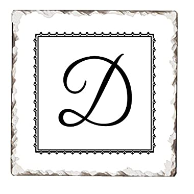 Counter Art Tumbled Tile Coasters (Set of 4),D Monogram