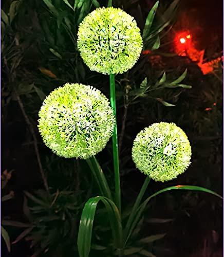 Kansang Luz solar de diente de león, 2 unidades, impermeable, para jardín, césped, luz de paisaje, color verde