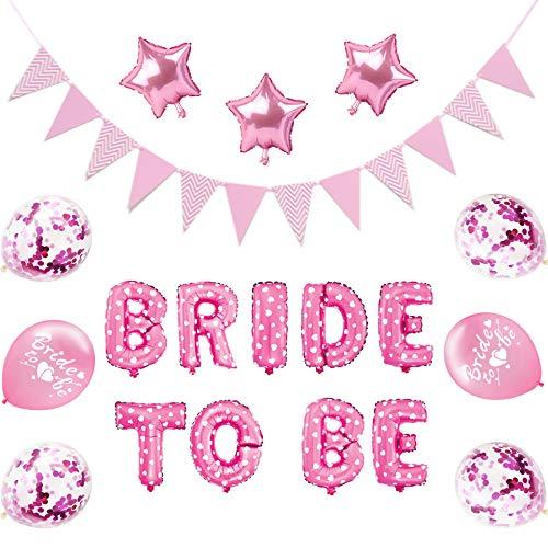 Oumezon Bruid to Be Decoratie, JGA Deco luchtballonnen set vrijgezellenfeest decoratie met banner folieballonnen roze 12 inch roos confetti ballonnen verjaardag party, bruidsdouche en feestdecoratie
