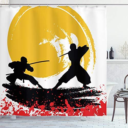 ABAKUHAUS japanisch Duschvorhang, Aquarell Stil Ninja, mit 12 Ringe Set Wasserdicht Stielvoll Modern Farbfest & Schimmel Resistent, 175x240 cm, Zinnoberrot Senf & Schwarz