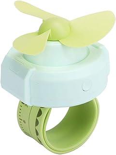 Crisis Ventilador portátil Personal, Reloj Mini Ventilador USB, Forma de Reloj portátil de Dibujos Animados con Pilas para el Verano(Green)