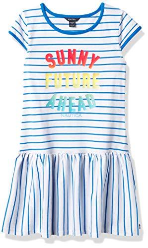 Nautica Girls' Short Sleeve Stripe Fashion Dress, Frenchie Blue, Large (12/14)