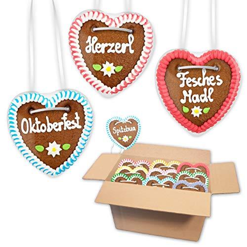 10x Lebkuchenherz im Mischkarton 10cm - Premiumqualität - versch. bayerische Sprüche | bayerische Lebkuchenherzen | saftigte Lebkuchenherzen frisch gebacken | Lebkuchen Herz bestellen LEBKUCHEN WELT