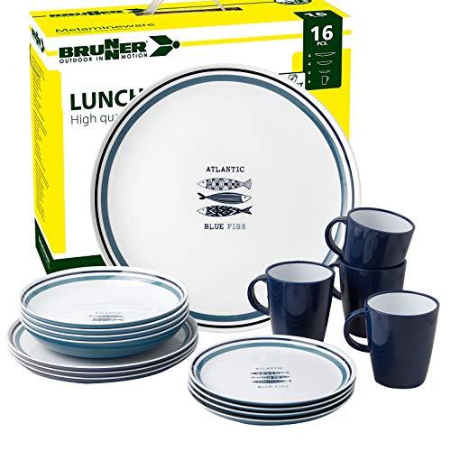 Brunner: Melamin-Geschirr Campinggeschirr (Antislip), 4 Personen (16 Teilig), Atlantic Lunch Box, Grill Und Picknick