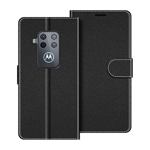 COODIO Handyhülle für Motorola One Zoom Handy Hülle, Motorola One Zoom Hülle Leder Handytasche für Motorola One Zoom Klapphülle Tasche, Schwarz