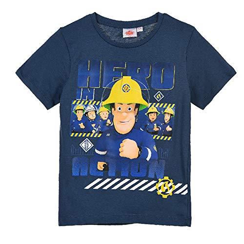 Feuerwehrmann-Sam T-Shirt Jungen Shirt (Dunkelblau, 104)
