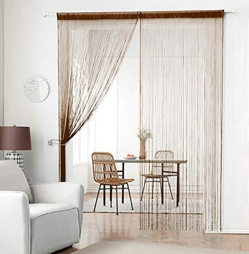 Cortina clásica de la marca Taiyuhomes, para decoración del hogar y separador, con cinta de decorativo, perfecto como mosquitera, marrón, W90xL245cm(35x96')