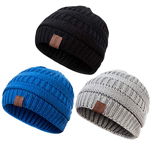 REDESS Baby Kids Winter Warm Fleece Lined Hats, Infant Toddler Children Beanie Knit Cap Girls Boys(3 Pack Black,Light Gray,Blue)