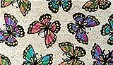 Designer Welcome Natural Coir Non Slip Doormat for Patio, Front Door, All Weather Exterior Doors 16 X 28 Inch Cream Multicolor Butterfly