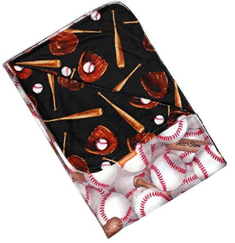 Dear Baby Gear Deluxe - Mantas reversibles para bebé, guantes de béisbol con impresión Minky personalizada, 88 pulgadas por 29 pulgadas
