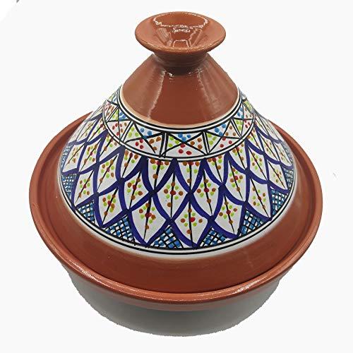 Etnico Arredo Tajine 2910201130 Topf Terrakotta, dekoriert, Marokkanisch, Tunesien, XL 32 cm