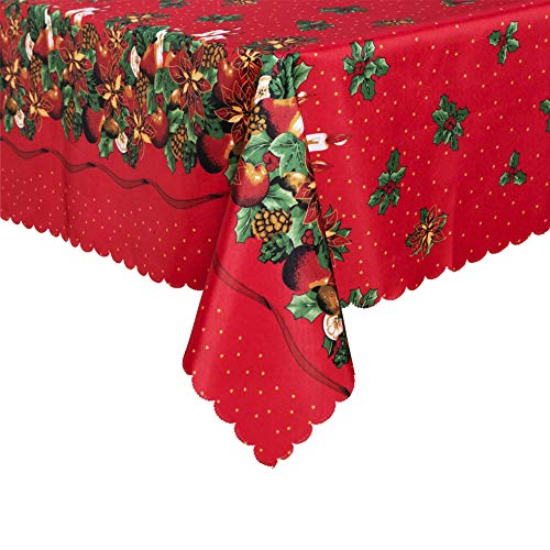 sancua Rectangle Christmas Tablecloth - 60 x 84 Inch - Water Resistant Spill Proof Washable Polyester Table Cloth, Decorative Pattern Fabric Table Cover for Dining Table, Buffet Parties, Red