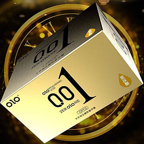 Frfjy 10pcs Kondom Ultra-Dünn Latex Kondom, Vanille Duft Hyaluron Wasserlöslich Gleitgel mit Reservoir - Gold