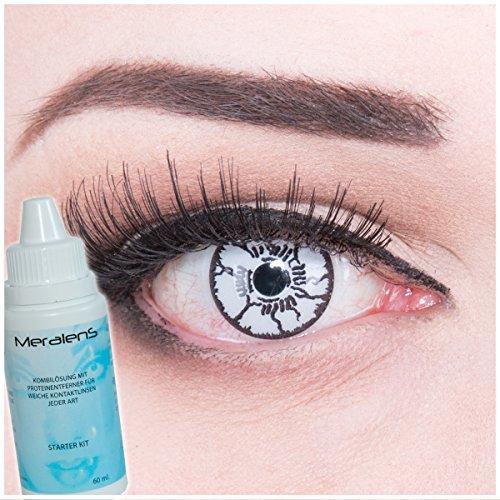 Meralens Farbige schwarz / weiße Crazy Fun Kontaktlinsen White Monster mit gratis Linsenbehälter + 60ml Pflegemittel, Topqualität zu Fasching, Karneval und Halloween