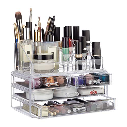 Relaxdays Organizador Maquillaje de 4 Cajones, 13.5x24x19 cm