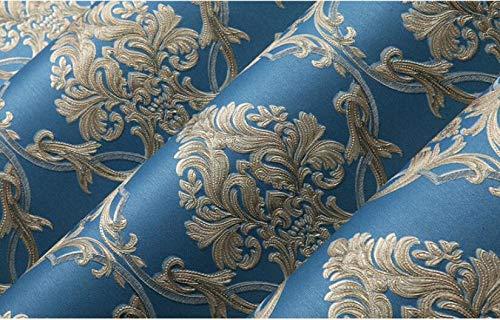 Lxsart Vliestapete Moderne Wanddeko Wohnzimmer der gehobenen Atmosphäre des europäischen Tapetenluxusschlafzimmers gemütliches Wohnzimmer 3d Vlies Ouhua Tapete, königliches Blau, 5.3㎡
