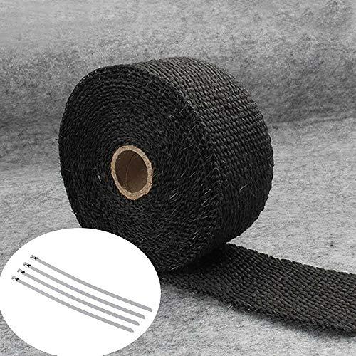 Escape 5M rollo de fibra de vidrio escudo térmico de la motocicleta tubo colector venda caliente de la cinta de protección térmica + 4 Lazos Kit de tubo de escape insulat (Color : Black)
