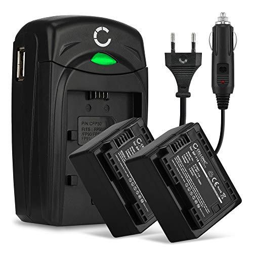 CELLONIC 2X Batería Compatible con Canon LEGRIA HF R806 R86 HF R706 HF R606 HF R506 R406 R306 R36 VIXIA HF R500 HF R52 R50 HF R400 R40 R300 HF M500, BP-718 BP-709 1600mAh + Cargador CG-700 Pila