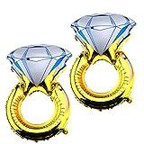 2 x 32 pulgadas anillo de diamante 'I DO' globos grandes de papel de aluminio para bodas, ceremonias de compromiso, despedida de soltera, decoración de despedida de soltera