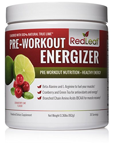 Red Leaf Pre-Workout Energizer Powder, Pre Workout for Women and Men, BCAA's, Beta-Alanine, Amino Acids, Green Tea, Natural Cranberry Lime Flavor - 30 Servings