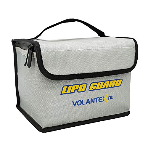 """VOLANTEXRC 1pcs Lipo Safe Bag Fireproof Explosionproof for Lithium Battery Storage and Charging, Large Capacity Fiberglass Fabric Lipo Battery Guard Safe Pouch (7.9"""" x 5.9"""" x 5.9"""")"""