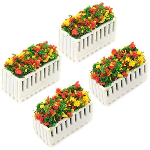 Yesoa 4 Stück Blumenbeete Pflanzen Simulation Blumenbeete Miniatur Puppenhaus Dekoration Miniatur Landschaft Fee Garten Dekoration Puppenhaus Zubehör