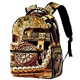 Mochila de escuela de princesa, mochila para niñas y niños, bolsa de escuela, bolsa de libros para mujeres y niñas, bolsa de libros de coco y playa Plumeria decorada, Vintage Skull Treasure 7, Medium