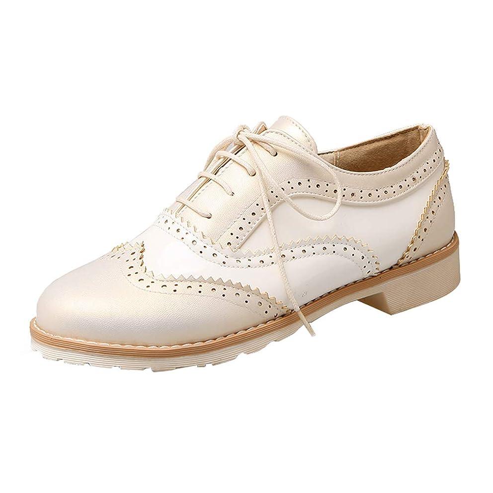 屋内で砦ロマンチック[KITTCATT] 靴 オックスフォード レディース ブローグシューズ エナメルシューズ 白黒 レースアップシューズ レディース ローヒール 歩きやすい靴 レディース