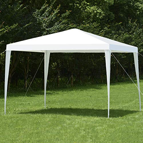 COSTWAY 3X3M Outdoor Garden Gazebo Party Tent, Waterproof & Anti-UV Heavy Duty Marquee Wedding Canopy Shelter, Powder Coated Steel Frame with PP Joints, Easy to Install (White)