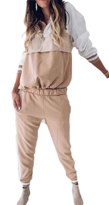 社員透けて見える正確さ女性2ピーストラックスーツカラーブロックロングスリーブのパーカーとパンツのセットの衣装